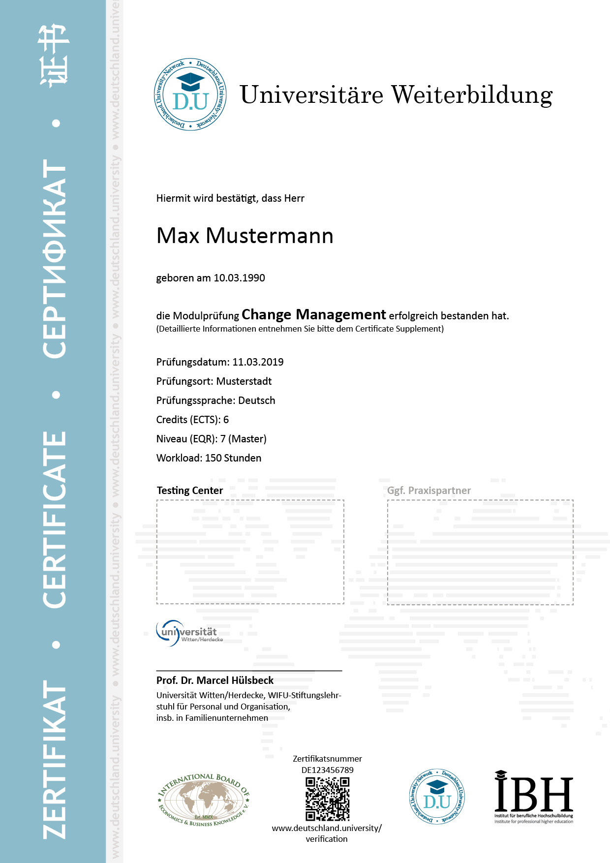 Musterzertifikat Change Management