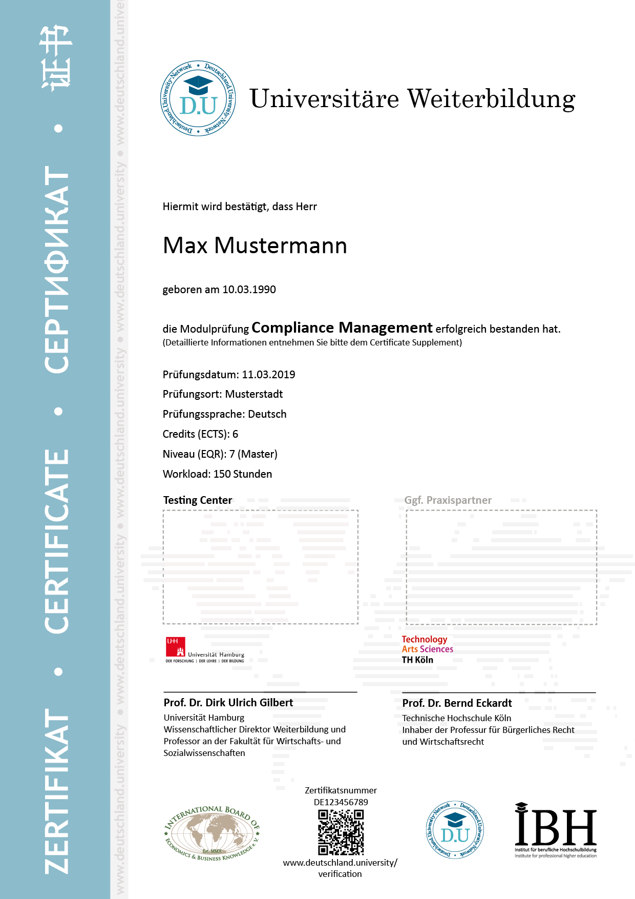 Musterzertifikat Compliance Management