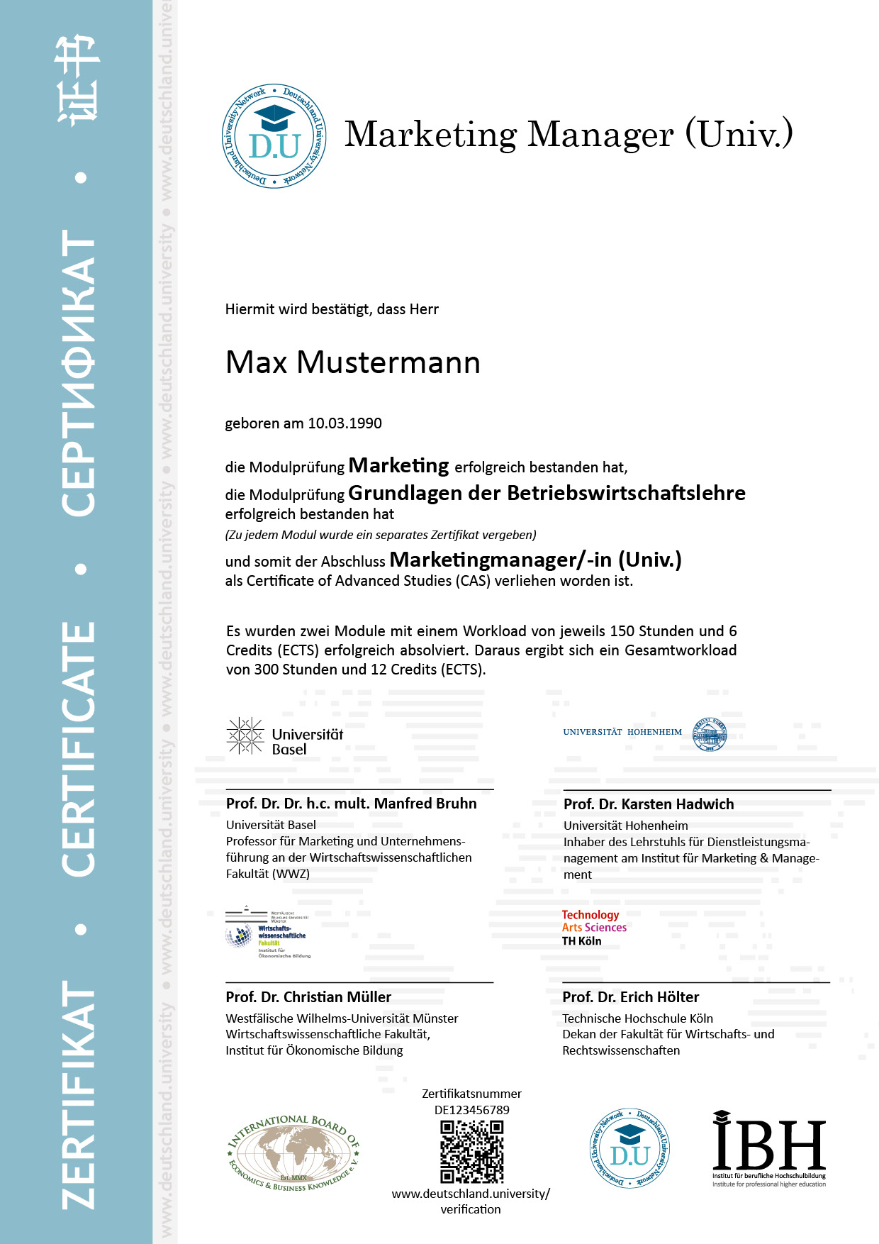 Musterzertifikat Marketingmanager/-in (Univ.)