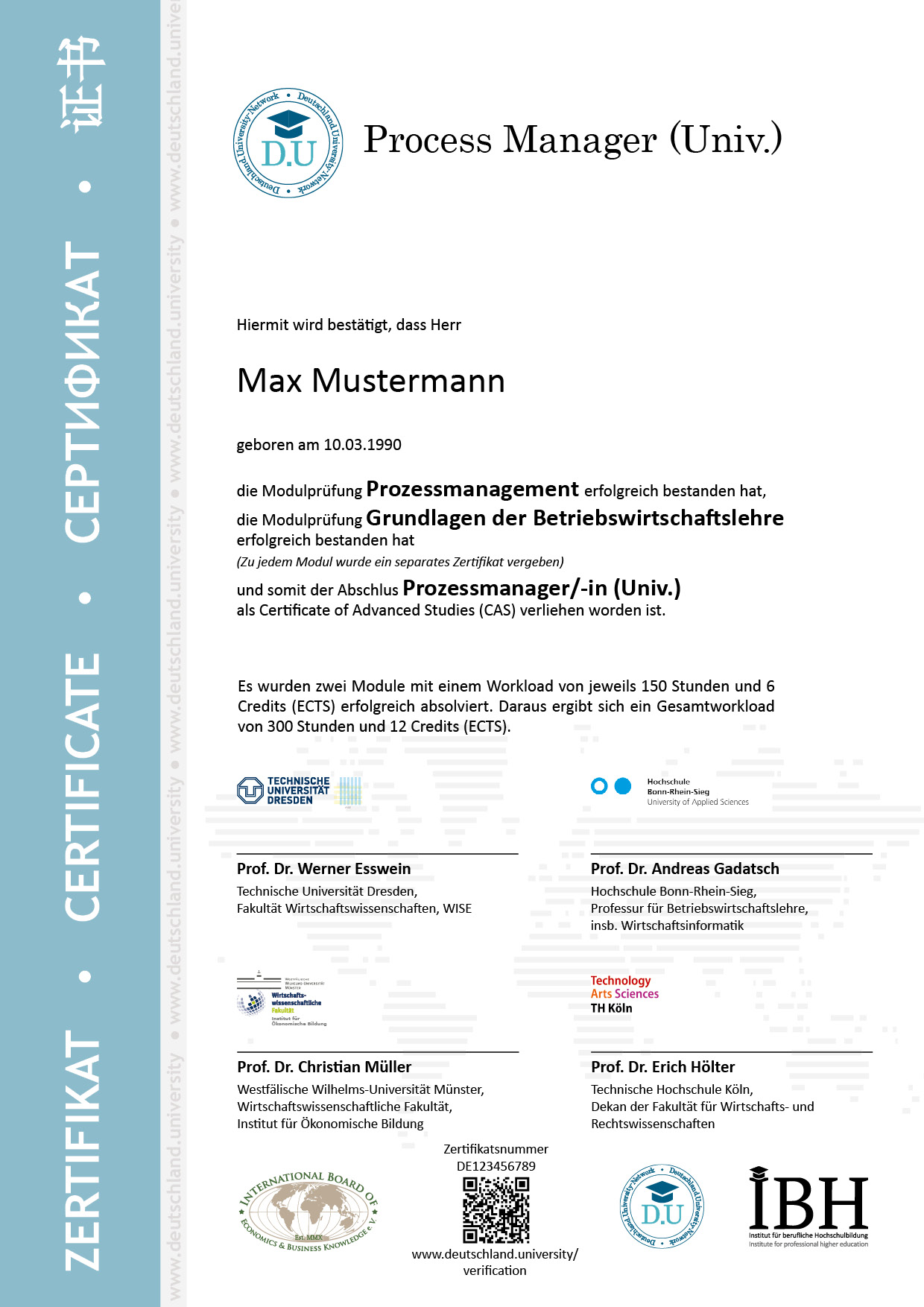 Musterzertifikat Prozessmanager/-in (Univ.)